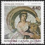 Patrimoine culturel du Liban Détail de mosaïque «L'enlèvement d'Europe»